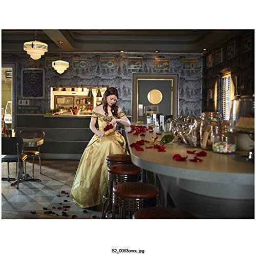 (Once Upon a Time Emilie De Ravin As Belle, Gold Dress in Diner, Scattered Rose Petals 8 X 10 Inch Photo)