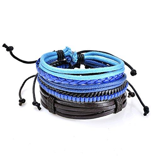 Lureme Unisex Punk Style Leather Blue Rope Braided Bracelet Wristband Adjustable (bl003197)