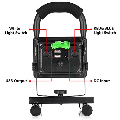 [15W 24LED] Rechargeable Work Light, BESWILL Outdoors Camping Emergency Light with SOS Mode, Portable Floodlight with Built-in Lithium Batteries and 2 USB Ports to Charge Digital Devices(Black) by BESWILL (Image #3)