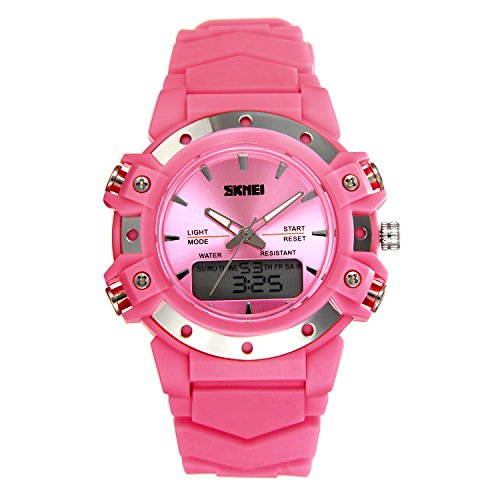 JewelryWe Mens Womens Sports Digital Dual Time