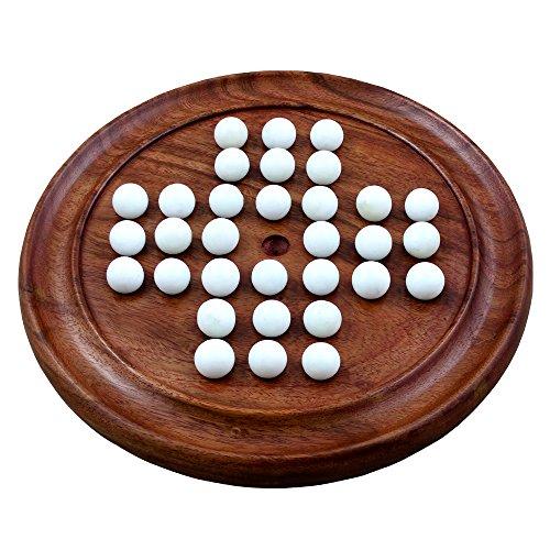 クリスマスのギフト子供&大人ハンドメイドソリッド木製ソリティアボードゲームビー玉with旅行ゲーム12インチ