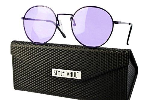 V3022-fc Style Vault Metal Retro Round Panto Sunglasses (B3395F purple w - Pantos Sunglasses