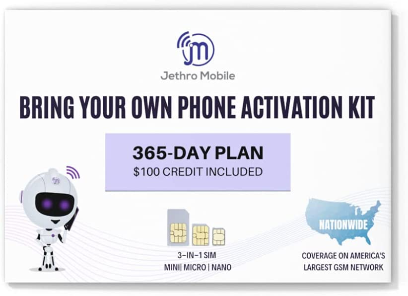 Jethro Mobile Prepaid $100 Phone Plan for 365 Days - Unlimited Talk and Text and No Data, Perfect for Senior Cell Phones, (SIM Card Kit Included)