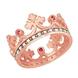 Fine 10k Rose Gold Red CZ Medieval Crown Diamonds Band Women's Ring (Size 6.75)