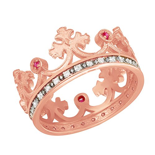 Fine 10k Rose Gold Red CZ Medieval Crown Diamonds Band Women's Ring (Size 7)