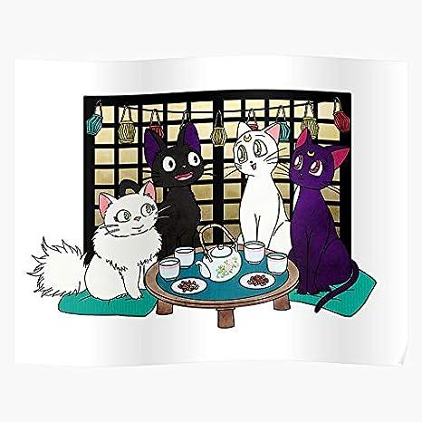 Amazon Com Sarahsilva Mashup Lily Time Artemis Anime Cats And Tea Luna Jiji I S Poster For Home Decor Wall Art Print Poster Posters Prints