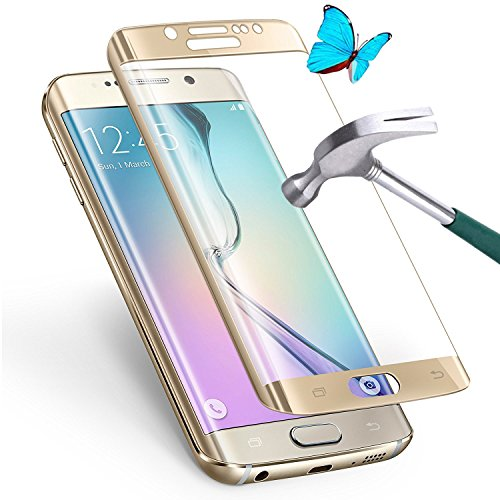 Galaxy S6 Edge Plus [Tempered Glass] Screen Protector [Full Coverage] - GreenElec [0.3mm 9H Hardness 2.5D Ultra-Thin Anti-Scratch Anti-Bubble] with Lifetime Replacement Warranty, Gold