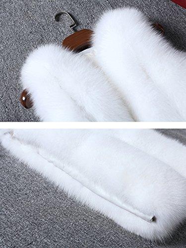 Donna Giubbotto Lungo Giacchetto Invernale Cappotto Gilet Parka Faux Senza Maniche Falso Pelliccia Giacca Fur Bianco Di aAx4argqw