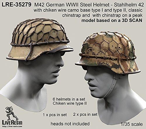 Price comparison product image Live Resin 1:35 WWII German M42 Helmet Stahlhelm 2 - Resin Detail LRE35279