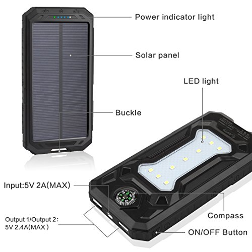 Solar Charger 12000mah Addtop Portable Power Bank Dual