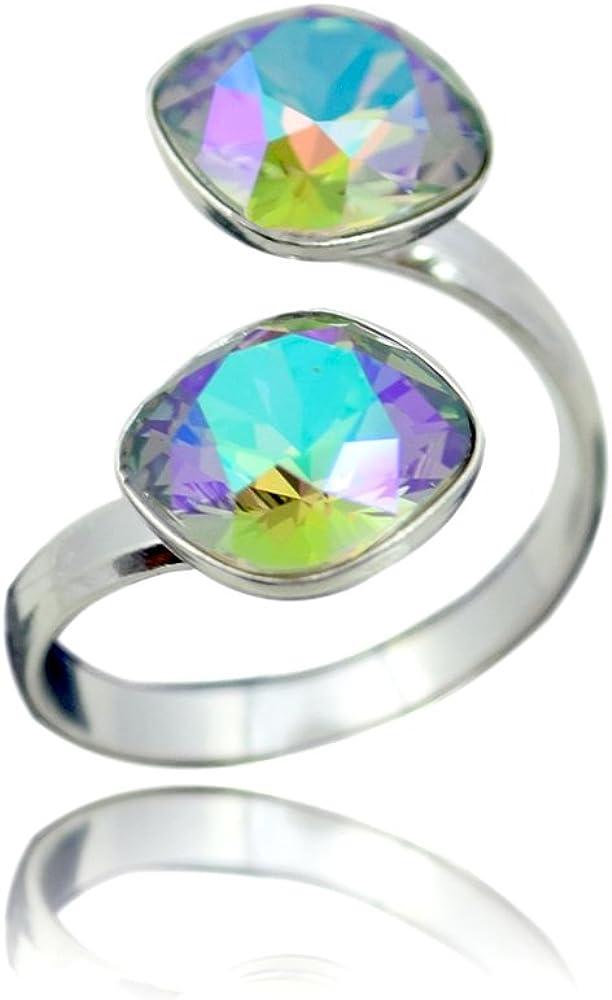 Crystals & Stones anillo de plata de ley piedra Swarovski con diseño cuadrado y varios colores, para mujer, ajustable