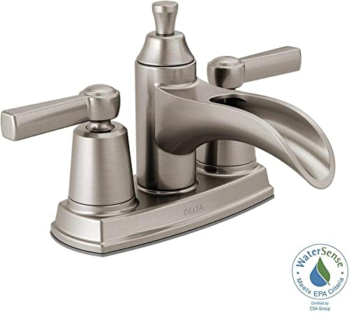 Delta 25746LF-SP Davis 4 in. Centerset 2-Handle Bathroom Faucet in SpotShield Brushed Nickel