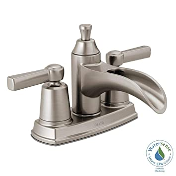 Delta 25746lf Sp Davis 4 In Centerset 2 Handle Bathroom Faucet In