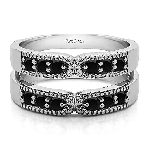 0.48 ct. Black Diamonds Double Shared Prong Vintage Ring Guard in Sterling Silver (1/2 ct.) by TwoBirch