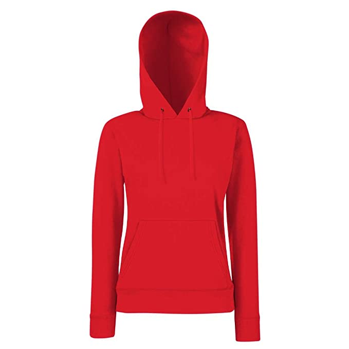 Fruit of the Loom Lady Fit Hooded Sweat XXL,Red