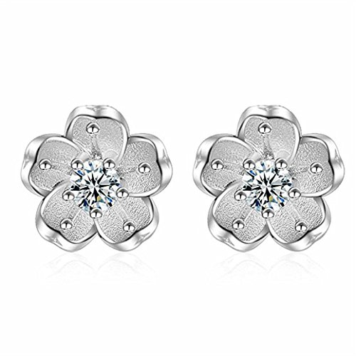 Clearance Lethez 1PC Women Sakura Floral Stud Earrings Simple Flower Ornament Jewellery for Girl (White) ()