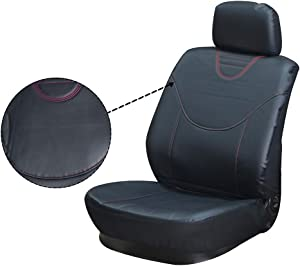 ECCPP Universal Car Seat Cover w/Headrest Cover - 100% Breathable Semi-PU Leather + Polyester Stretchy Durable Auto Seat Cover for Most Cars(Black)