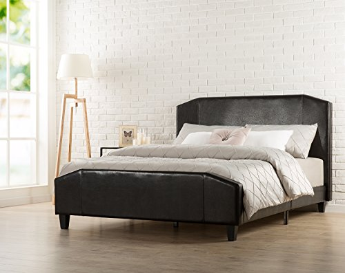 Zinus Sculpted Faux Leather Upholstered Platform Bed with Footboard and Wooden Slats, Full, Espresso