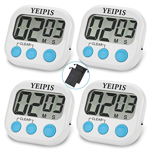 4 Pack Yeipis Digital Kitchen Timer: Large LCD ...