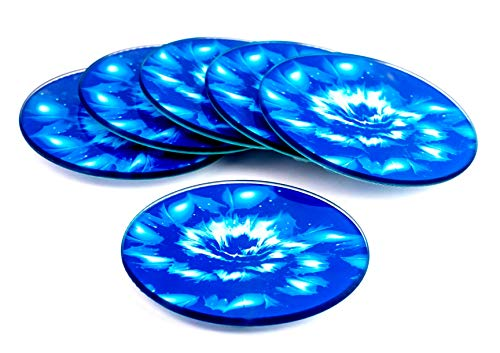 - Blue Flower Round Glass Coaster Set, 6 Coasters, unique design, beautiful colors, great for indoors – kitchen, bar, dining room or outdoors, use for hot or cold beverages, wine, tea, coffee, non slip