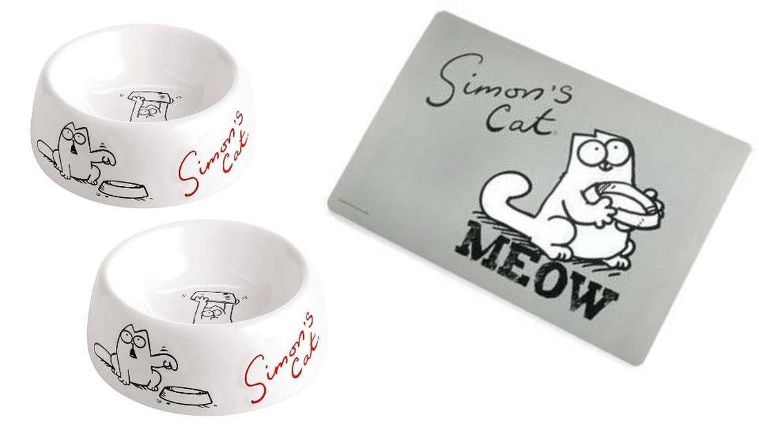 Napf - Set Simon's Cat Futternapf und Wassernapf mit Napfunterlage