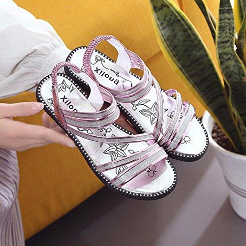Vovotrade Diamante plano con cruz-ataron la venda elástico Mujeres del gladiador de la manera Mujeres Zapatos planos Sandalias Cómodo Zapato Correa del tobillo púrpura