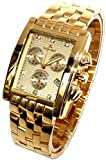 Oskar Emil Gents Rodez 23k Gold 7 Diamond Chronograph Watch with Sunburst Dial RRP $550