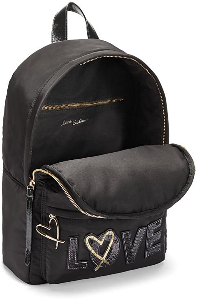 Victorias Secret NEW Black Runway Patch City Backpack Black