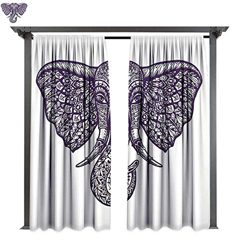 Elephant Mandala, Exterior/Outside Curtains, Hand Drawn Sketchy Floral Paisley Ethnic Flower Design Head Image, for Patio Light Block Heat Out Water Proof Drape (W96 x L96 Inches Purple and White)