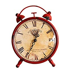 CKLT Creative European Style Antique Retro Iron Craft Home Decor Table/Desk Clock (red)