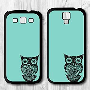 For Samsung Galaxy S4 / S3 Case, Mint Owl Pattern Protective Hard Phone Cover Skin Case For Samsung Galaxy S3 + Screen Protector