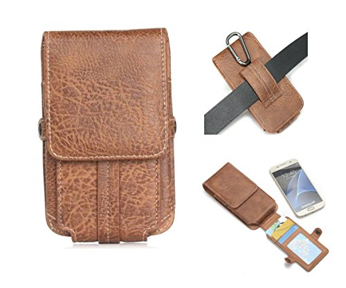 Kingsource (TM) iPhone 6 Plus iPhone 6s Plus iPhone 7 Plus Holster,Brown Vertical PU Leather Holster Belt Clip Pouch Carrying Case with Card Slots/Belt Loop/Magnetic Snap (Snap Belt Loop)