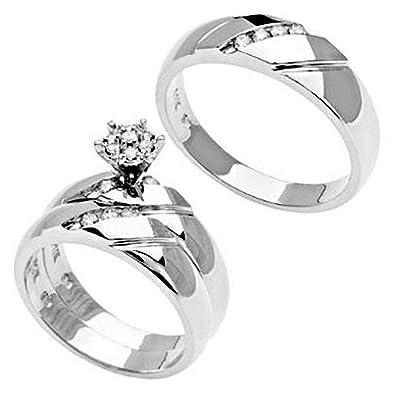 14k white gold matching his her trio diamond wedding band engagement ring set - White Gold Wedding Ring Sets