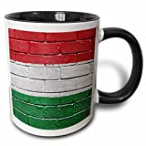 3dRose Carsten Reisinger Illustrations - National flag of Hungary painted onto a brick wall Hungarian - 11oz Two-Tone Black Mug (mug_155244_4)