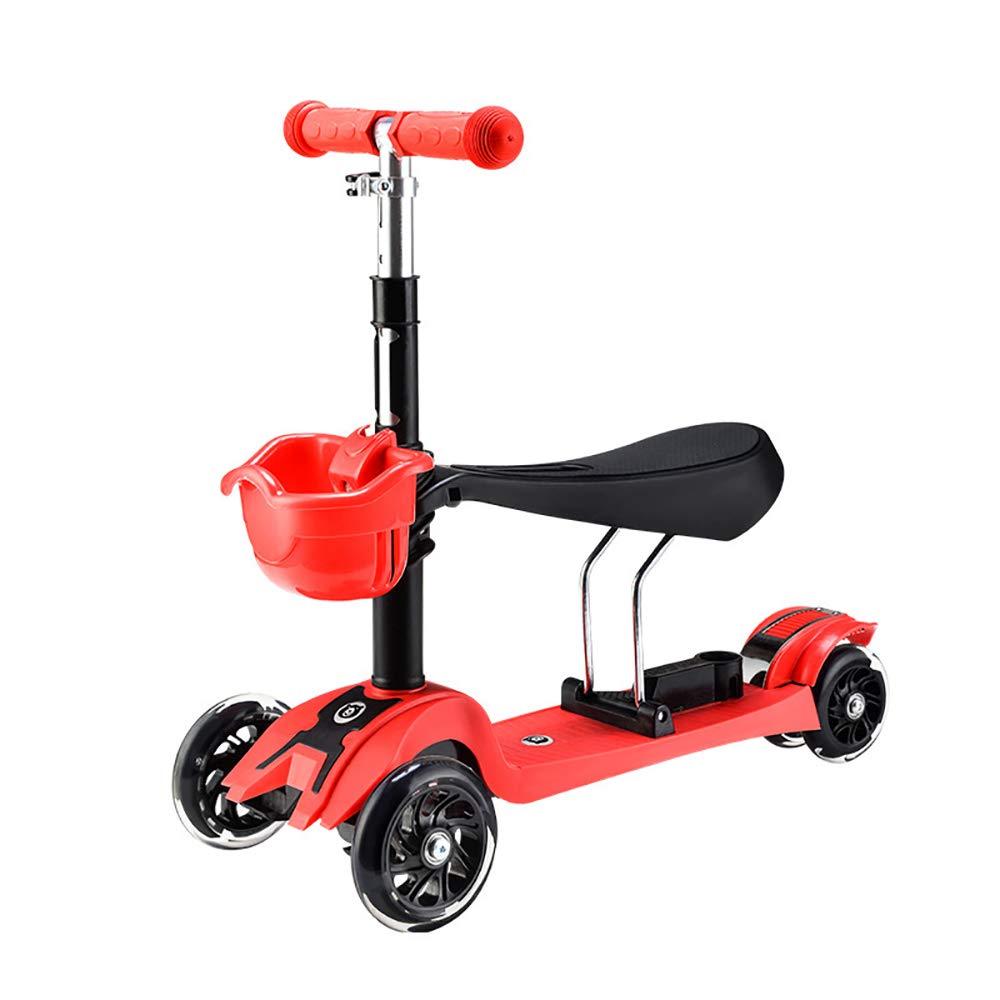 SSLCフリースタイルスクータースクーター4 in 1ウォーカートロリースクーター3 LEDホイール調節可能な高さ取り外し可能なチャイルドシート2-8歳 赤