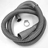 Washing Machine Drain Discharge Hose – Commercial grade Polypropylene with Universal Connection for 1', 1 1/8' and 1 1/4' Drain Outlets Includes Hose Clamp and Saddle Hook (10 ft)