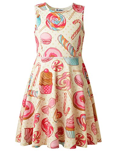 Jxstar Little Girls' Sweet Skater Princess Sleeveless Cream Candy Dress Candy 150 (80 Lb Slick)