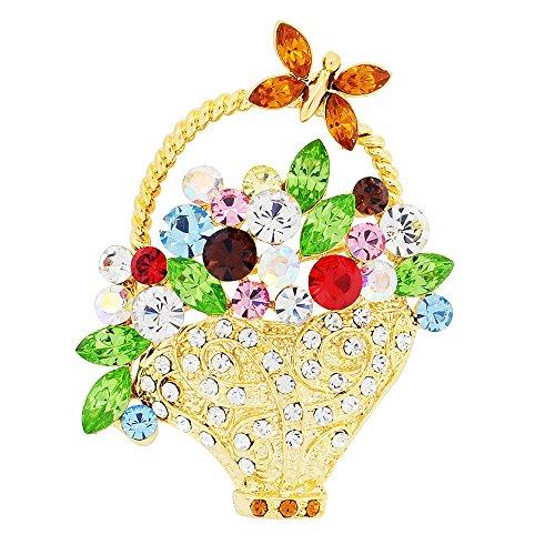 Fantasyard Multicolor Flower Basket with Butterfly Swarovski Crystal Pin Brooch