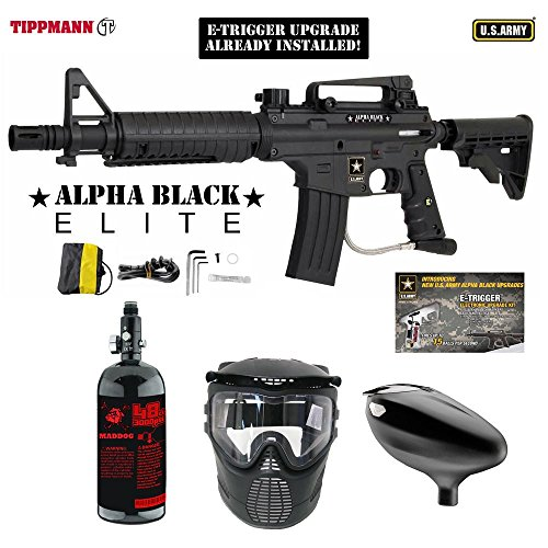 MAddog Tippmann U.S. Army Alpha Black Elite Tactical w/E-Grip Beginner HPA Paintball Gun Package - Black