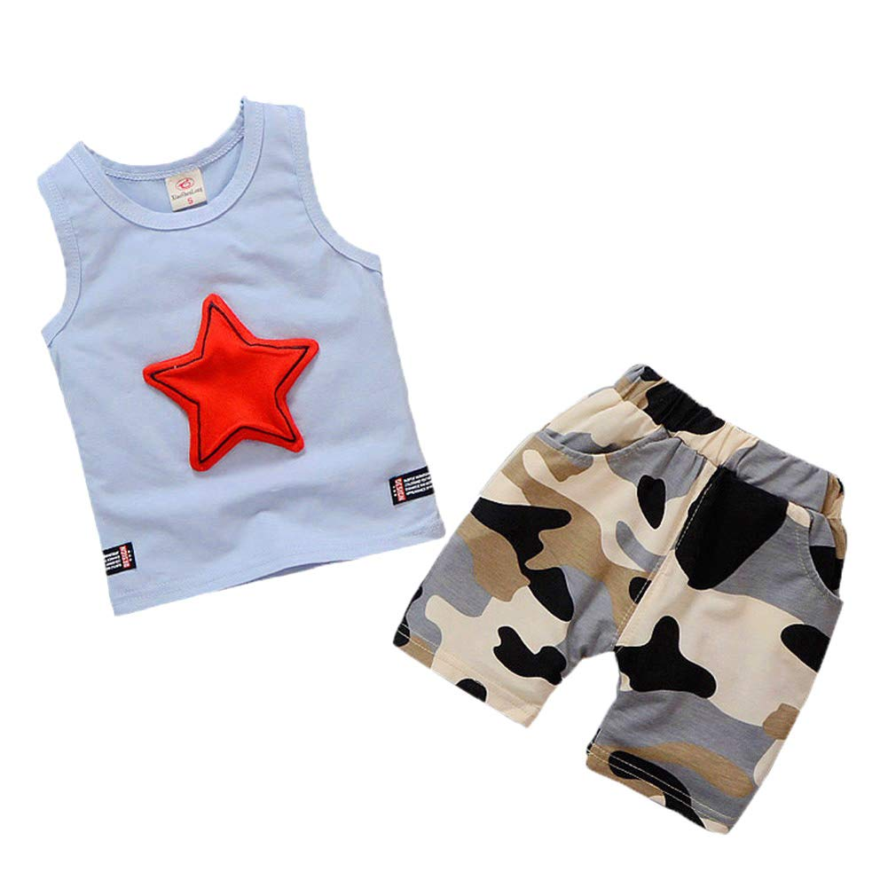 442bf7b33 Amazon.com: Toddler Baby Boy Sleeveless Vest T-Shirt Top Cute Star Camp  Printed 2Pcs Short Set Summer Outfit Clothes: Clothing