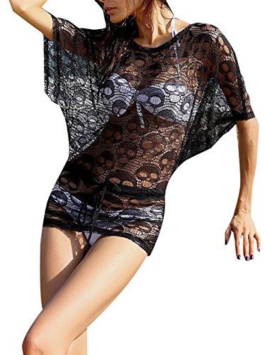 Ladies Transparent Skull Swimwear Babydoll Tops Breathable Net Beach Dress