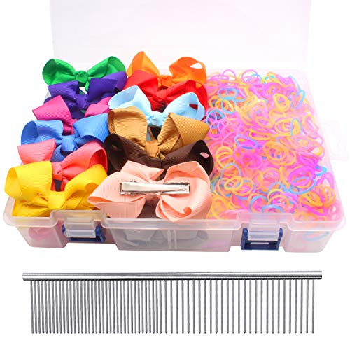 - YOY 40 Adorable Pet Dog Hair Bows with Clips & 2000 Rubber Bands & 1 Steel Grooming Comb Set for Groomer,Puppy Top Knot Bowknot Doggy Ponytails Braids and Dreadlocks Cat Kitty Accessories
