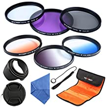 62mm Filter, K&F Concept 62mm Lens Accessory Filter Kit UV Protector Circular Polarizing Filter for Sigma Tamron Sony Alpha A57 A77 A65 DSLR Cameras - Includes Filter Kit( UV+CPL+FLD,Graduated Color Blue,Orange,Gray) + Microfiber Lens Cleaning Cloth + Petal Lens Hood + Center Pinch Lens Cap/Cap Keeper + Filter Bag Pouch