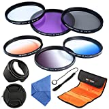 62mm Filter, K&F Concept 62mm Slim Lens Filter Set (Slim FLD+Slim CPL Circular Polarizing+ Slim UV Protector+ Slim Graduated Color Filter Blue+Orange+Gray/Neutral Density ND4)