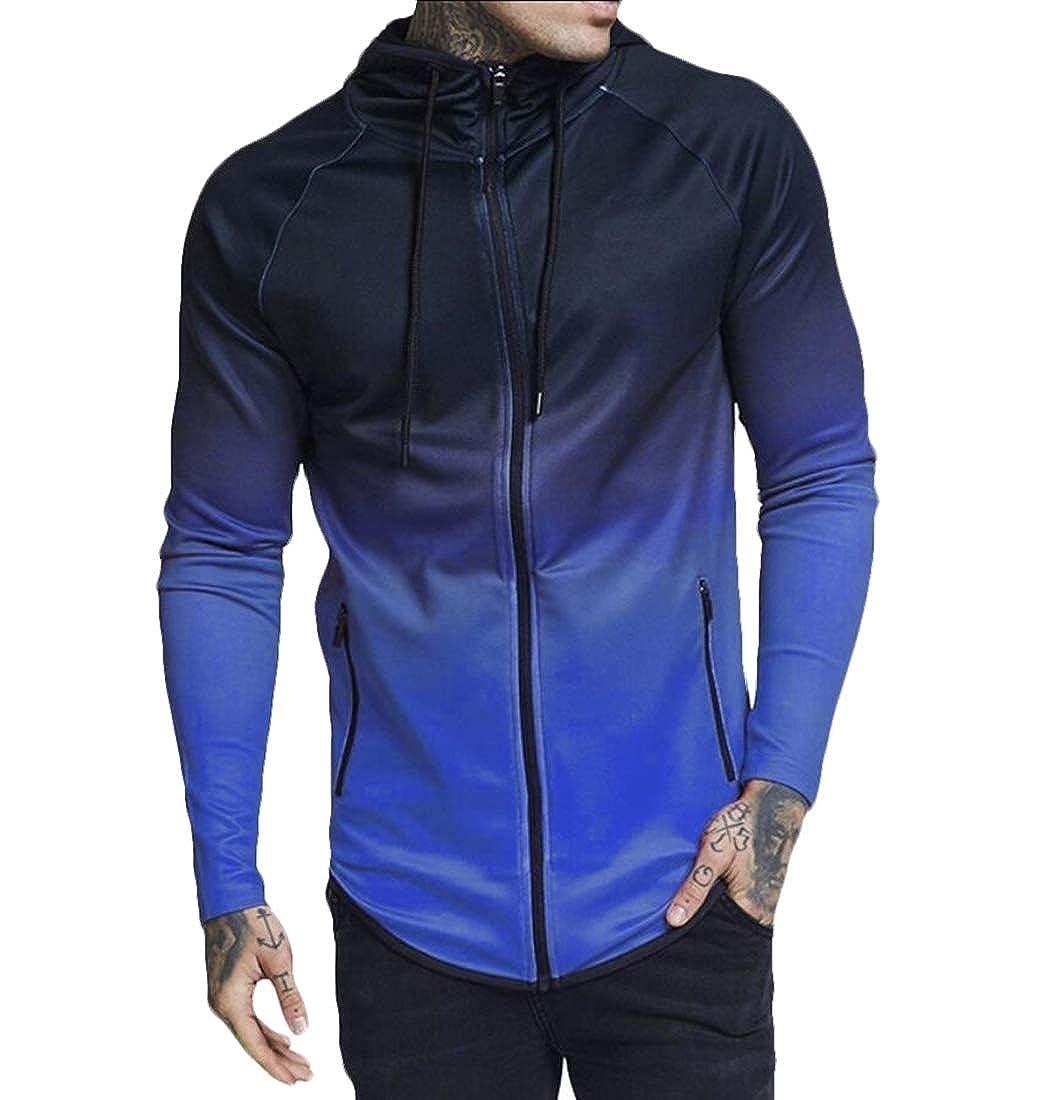 Yayu Mens Sports Long Sleeve Zipper Gradient Color Hoodie Jackets