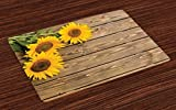 Lunarable Sunflower Place Mats Set of 4, Three Sunflowers on Wooden Background at Top Left Corner Picture Print, Washable Fabric Placemats for Dining Room Kitchen Table Decoration, Umber Earth Yellow