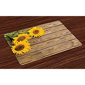 Lunarable Sunflower Place Mats Set of 4, 3 Sunflowers on Wooden Background at Top Left Corner Picture Print, Washable Fabric Placemats for Dining Table, Standard Size, Yellow Umber