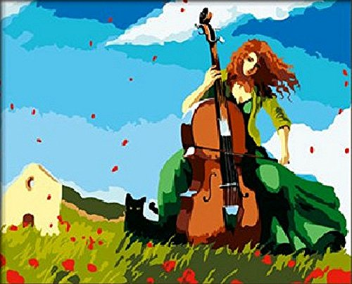 Melodies Cello - Romantic melody Cello Anime girl-DIY Painting by number kit oil painting(framed)