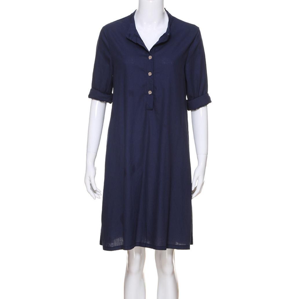 48815783d7ef Kaftan Dress for Women Cotton Linen Long Sleeve Henley Shirt Baggy Blouse  Top at Amazon Women's Clothing store: