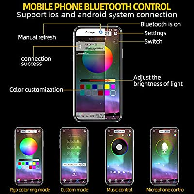 JoaSinc RGB LED Rock Lights With Bluetooth Controller Phone App/Remote Control Timing Flashing Music Mode Underglow Neon LED Light IP67 Waterproof for Cars Jeep Off Road Truck SUV ATV (8 Pods): Automotive